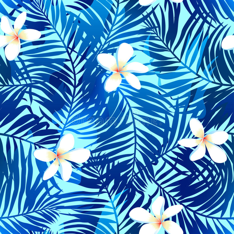 Tropical palms seamless pattern in blue with Frangipani flower.  vector illustration