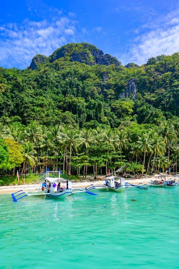 Tropical Papaya beach at paradise coast, El Nido, Palawan, Philippines. Tour A Route. Coral reef and sharp limestone cliffs.  stock photo