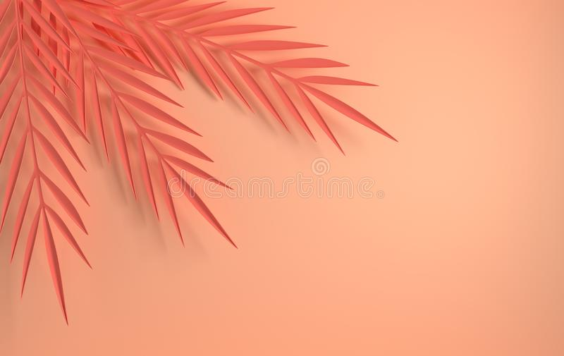 Tropical paper palm leaves frame. Summer tropical leaf. Origami exotic hawaiian jungle foliage, summertime background. Paper cut. vector illustration