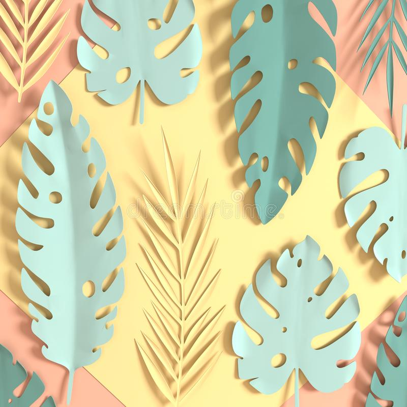 Tropical paper palm leaves. Summer tropical pastel colored leaf. Origami exotic hawaiian jungle foliage, summertime background. stock image