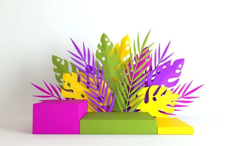 Tropical paper palm, monstera leaves and flowers frame, podium platform for product presentation. Summer tropical leaf. Origami. Exotic jungle, summertime royalty free stock photos