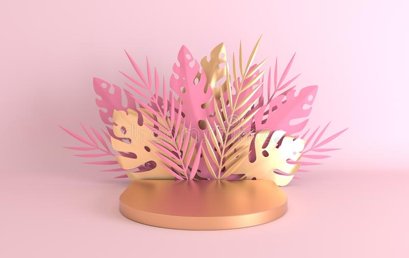 Tropical paper palm, monstera leaves and flowers frame, podium platform for product presentation. Summer tropical leaf. Origami. Jungle background. Pastel and stock photo