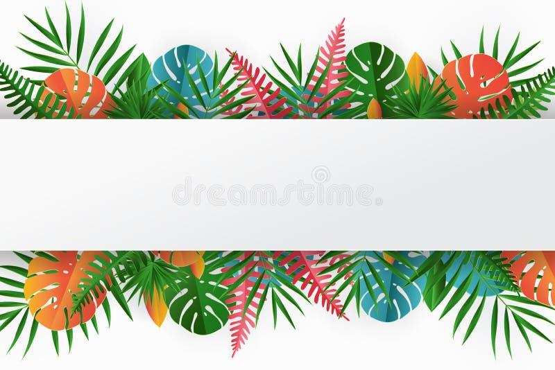 Tropical paper palm, monstera leaves frame. Summer tropical leaf royalty free illustration