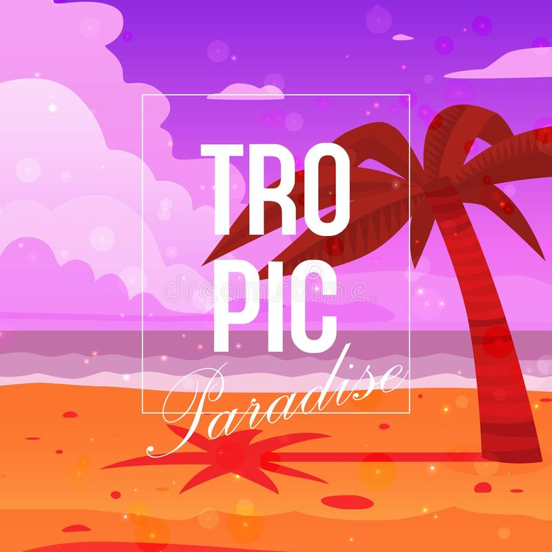 Tropical paradise background banner vector illustration. Palm tree on beach near ocean. Sand, blue sky and sea waves stock illustration