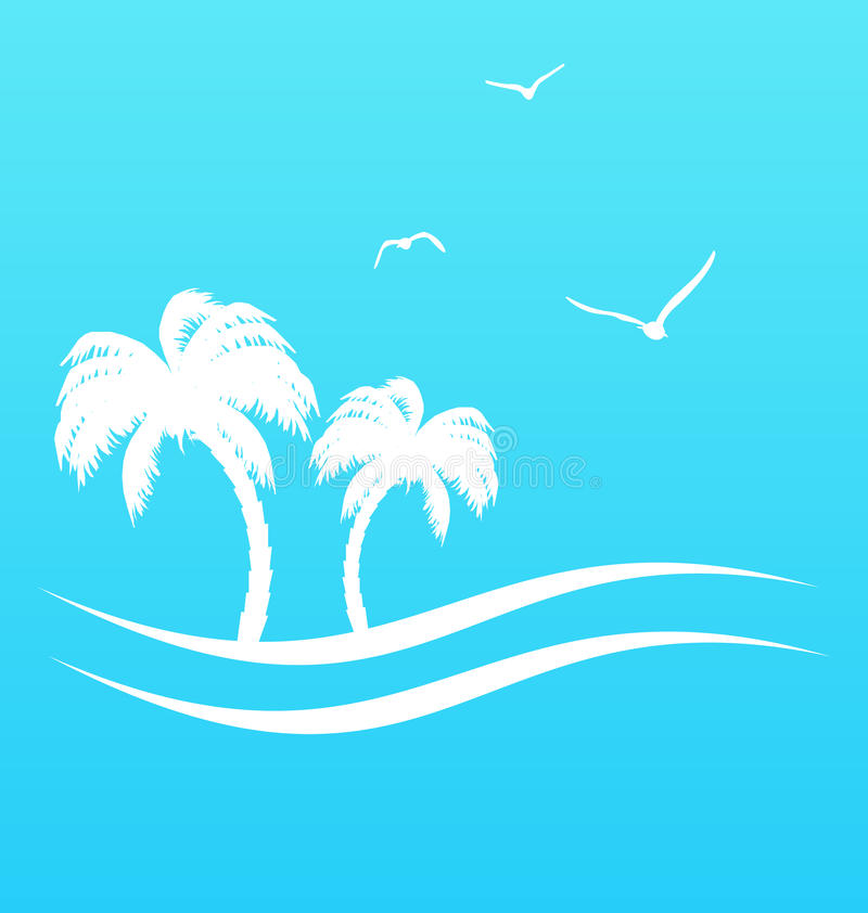 Tropical paradise background with palm trees and s