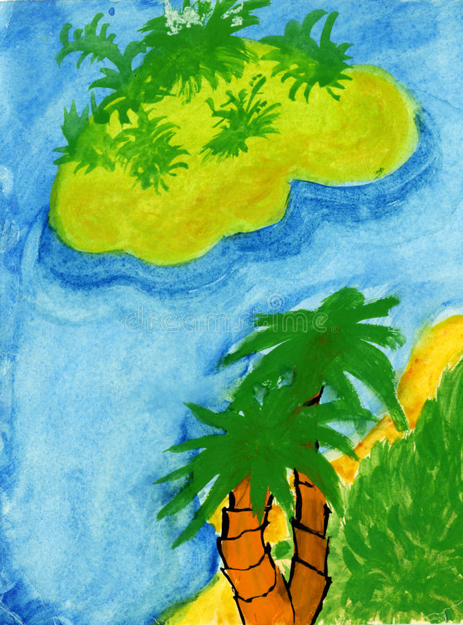 Tropical paradise child drawing royalty free stock images