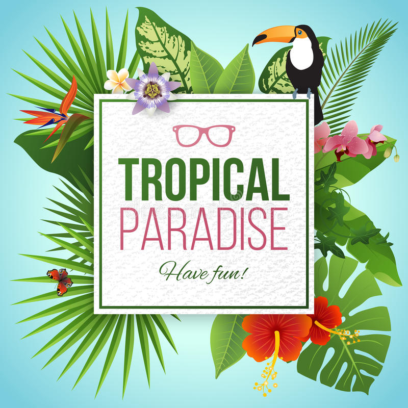 Tropical paradise label over background with leaves and flowers vector illustration