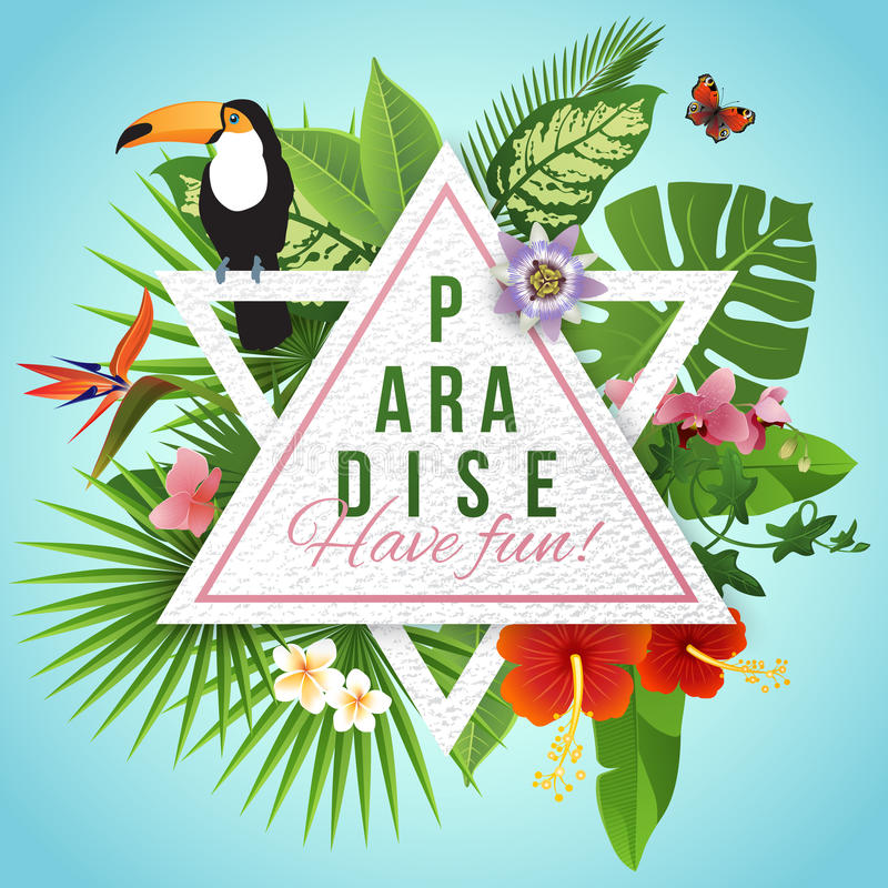 Tropical paradise label over background with leaves and flowers royalty free illustration