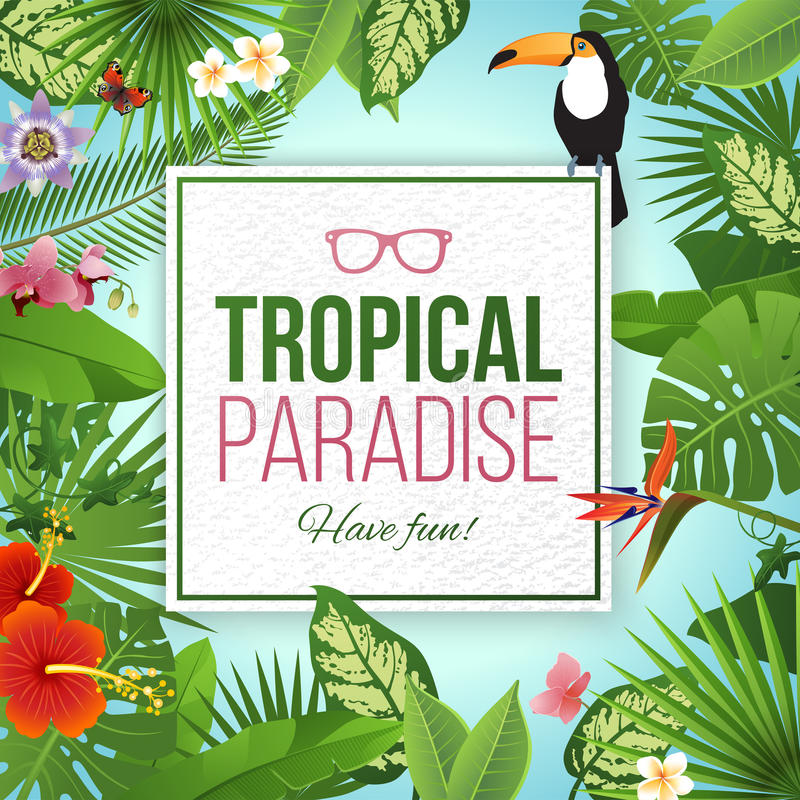 Tropical paradise label over background with leaves and flowers stock illustration