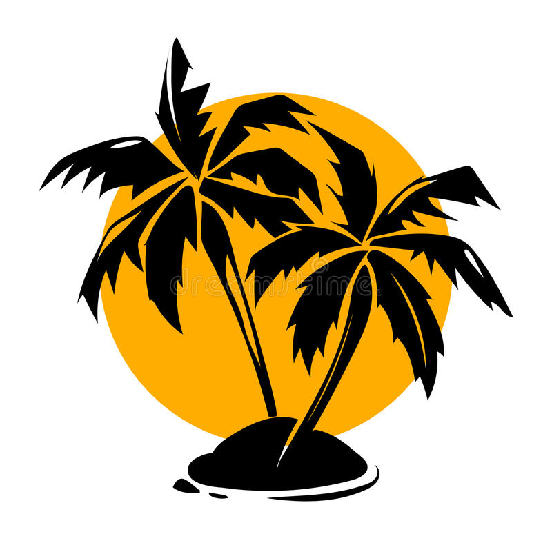 Tropical paradise palm trees and sun logo vector illustration