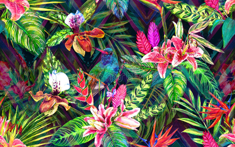 Tropical paradise pattern royalty free illustration