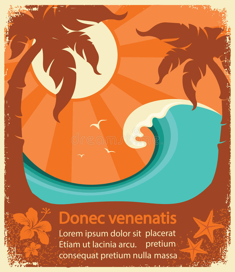 Tropical paradise retro poster vector illustration