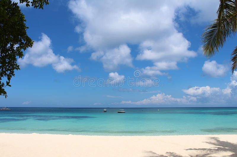 Tropical paradise. White sand beach of Boracay island, Philippines royalty free stock image