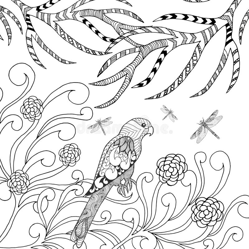 Tropical Parrot In Flower Garden Bird Coloring Page