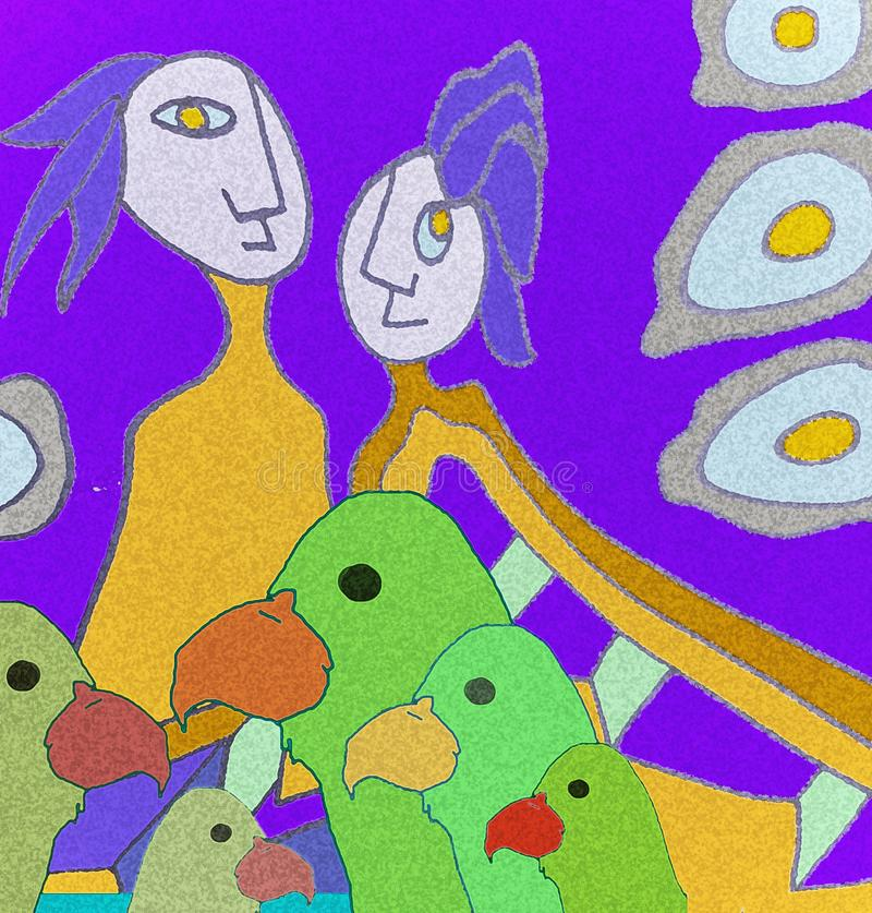 Tropical Parrot with friends. Abstract draw. stock image
