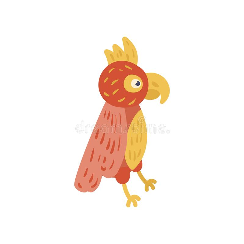 Tropical parrot with red and yellow feathers. Cartoon character of exotic bird. Zoo concept. Flat vector design for royalty free illustration
