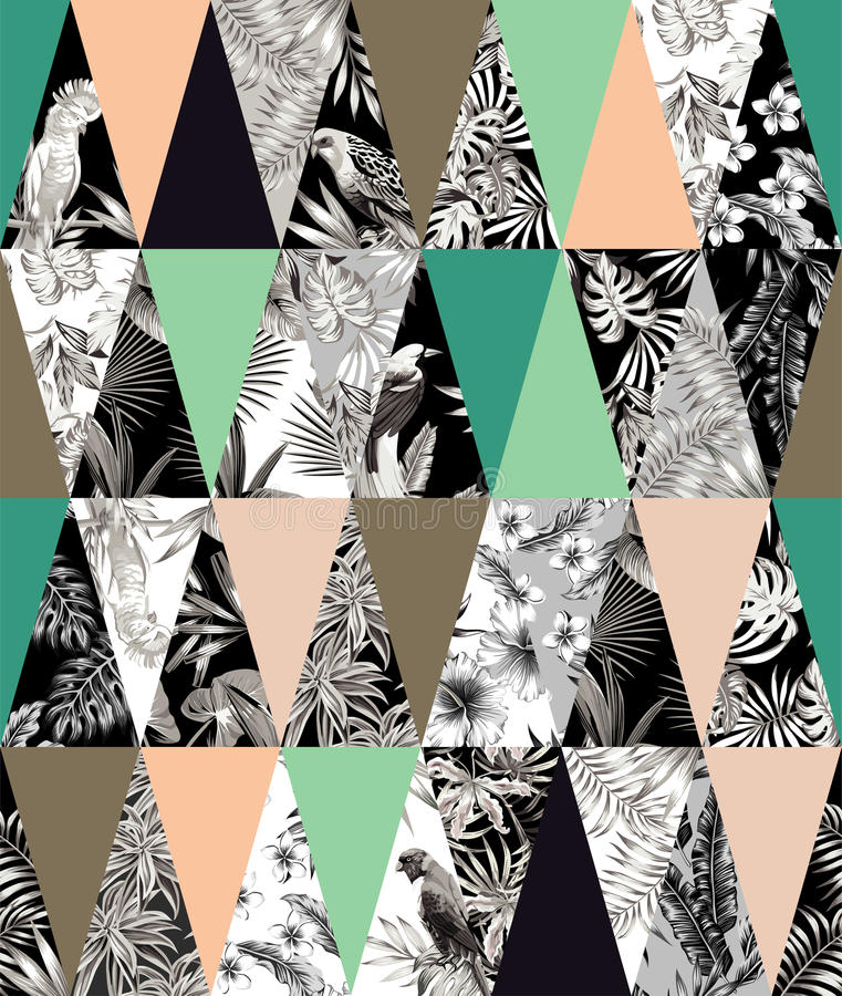 Tropical patchwork seamless background vector illustration