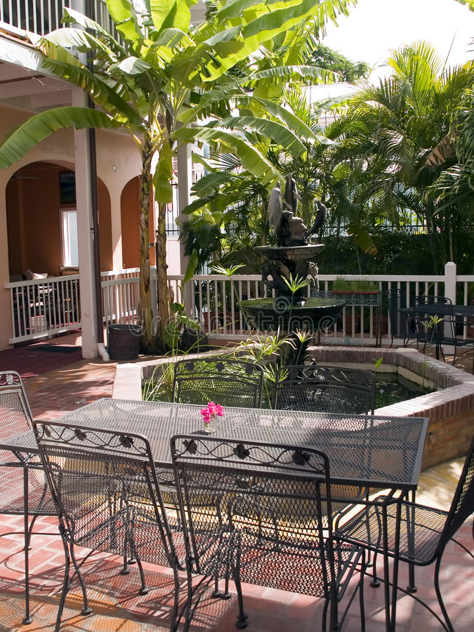 Download Tropical Patio With Fountain Stock Image - Image: 2612577