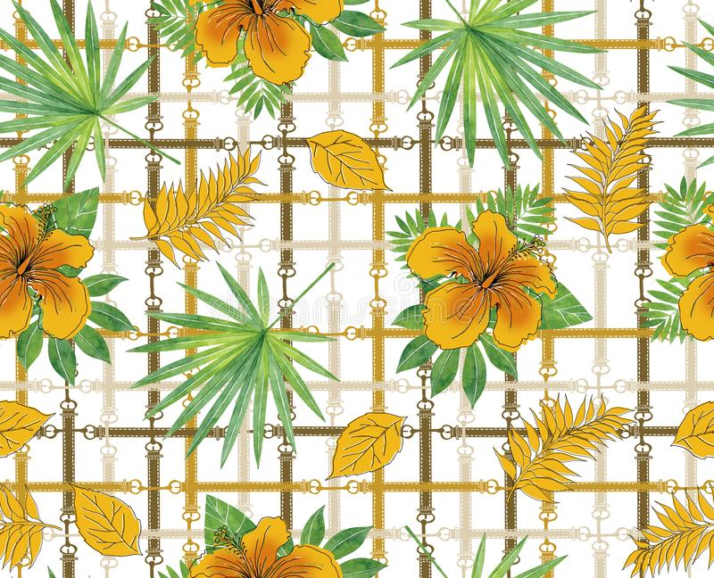 Tropical pattern background with yellow hibiscus rosa. Exotic flower wallpaper, digital paper, raster illustration. In vintage Hawaiian style white background royalty free illustration