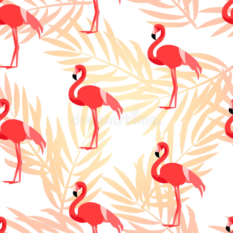 Tropical pattern with flamingo and palm branches. Ornament for textile and wrapping. Vector. Background stock illustration