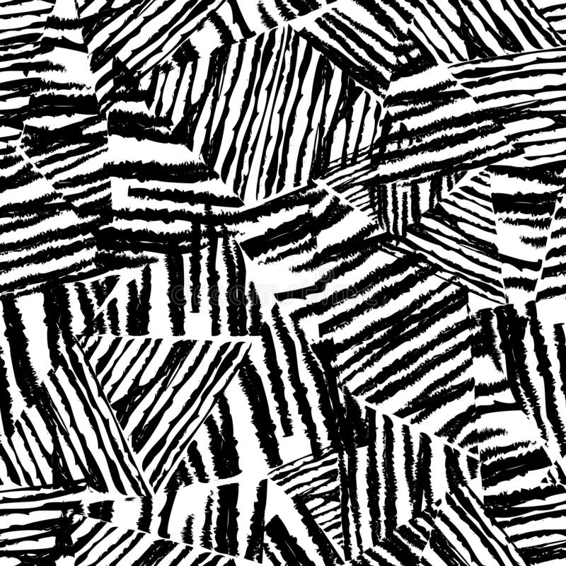 Tropical pattern, floral background. Abstact black leaves. Chaotic rough texture royalty free illustration