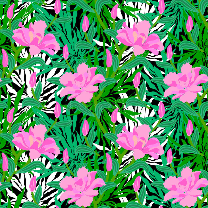 Tropical pattern with jungle flowers stock illustration