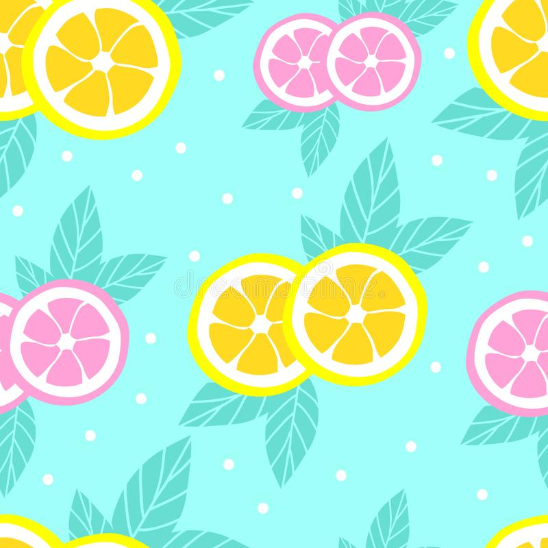Tropical pattern with lemons in flat style. Sweet and colorful summer background. Vector illustration stock illustration