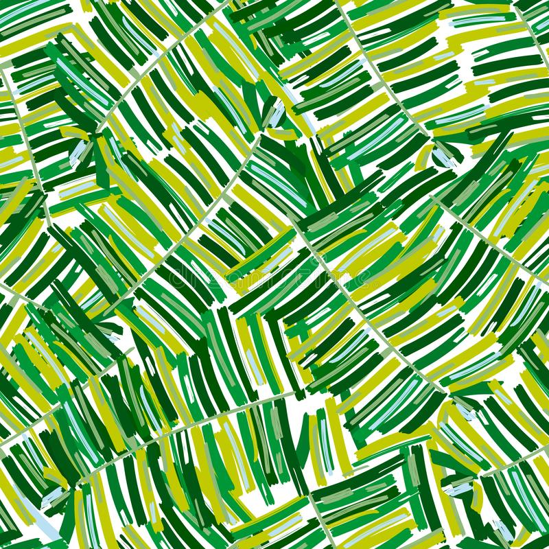 Tropical pattern, palm leaves seamless vector floral background. stock illustration