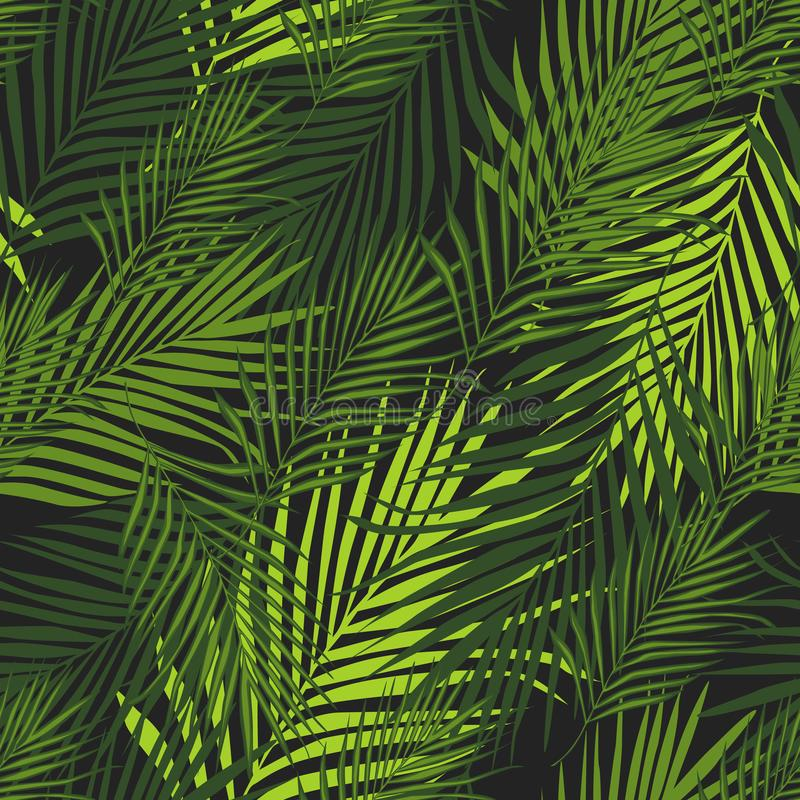 Tropical pattern, vector botanical background. Palm leaves wallpaper. Abstract exotic plant seamless pattern on black background. Tropical pattern, vector royalty free illustration