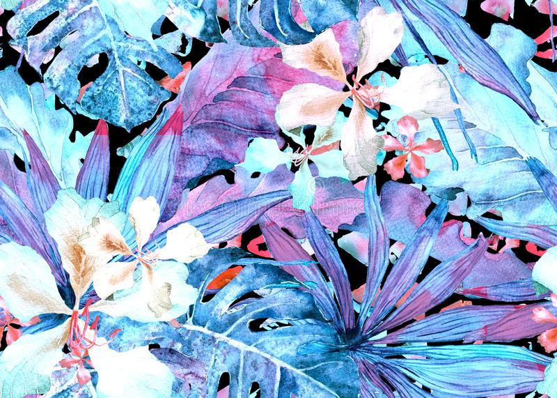 Tropical pattern. Watercolor thailand palm, monstera, hibiscus, banana tree. vector illustration