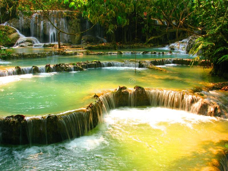 Tropical Phuang Si Falls in Loas royalty free stock photo