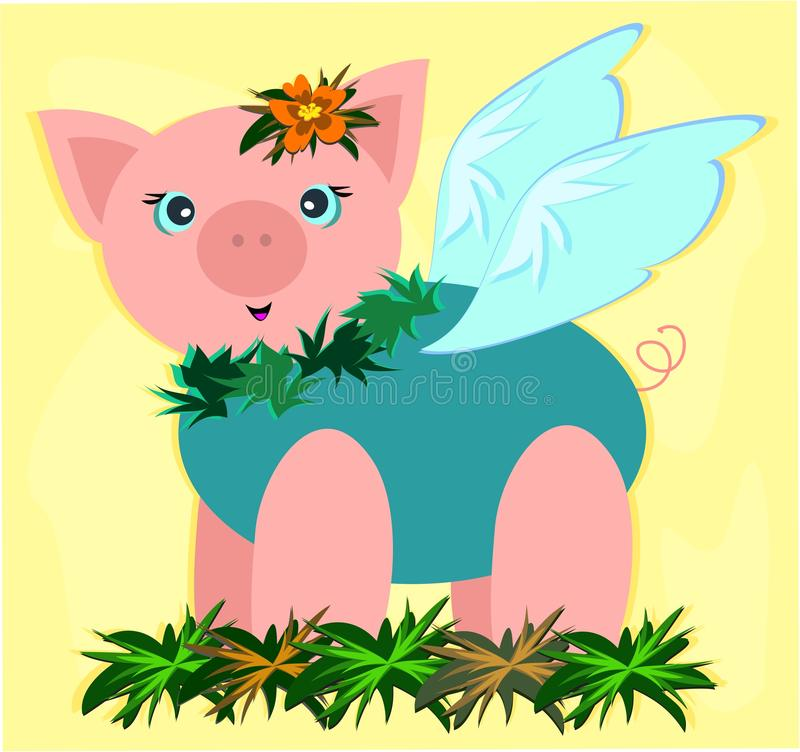 Download Tropical Pig in a Garden stock vector. Image of clip - 16753723