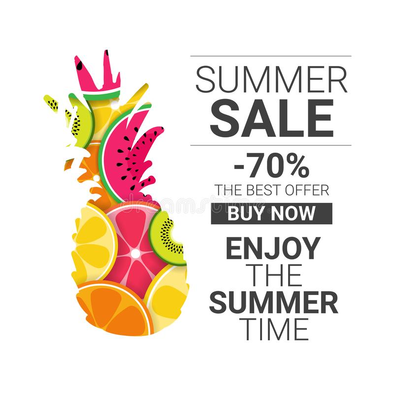 Tropical pineapple fruits colorful enjoy summer sale organic over white background healthy lifestyle or diet concept vector illustration