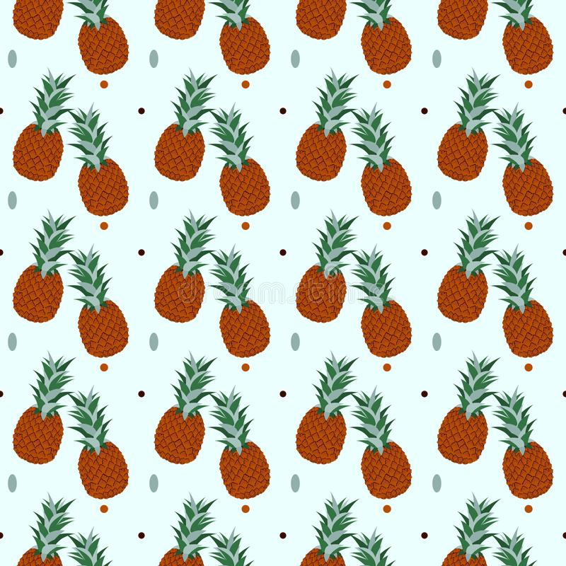 Tropical Pineapples Background - Ananas Seamless Pattern - in vector royalty free illustration