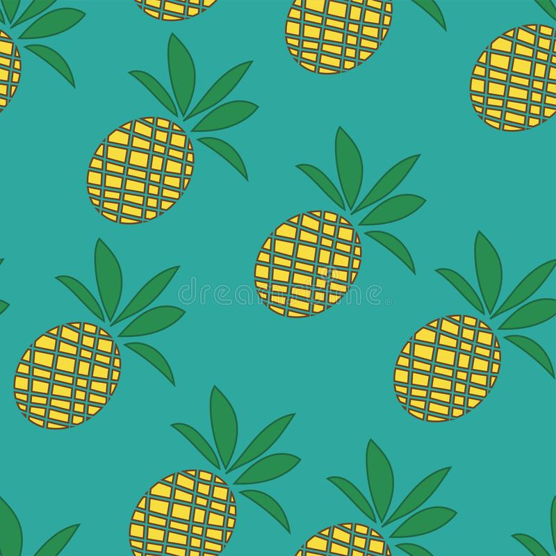 Tropical Pineapples Background - Seamless Pattern - in vector royalty free illustration