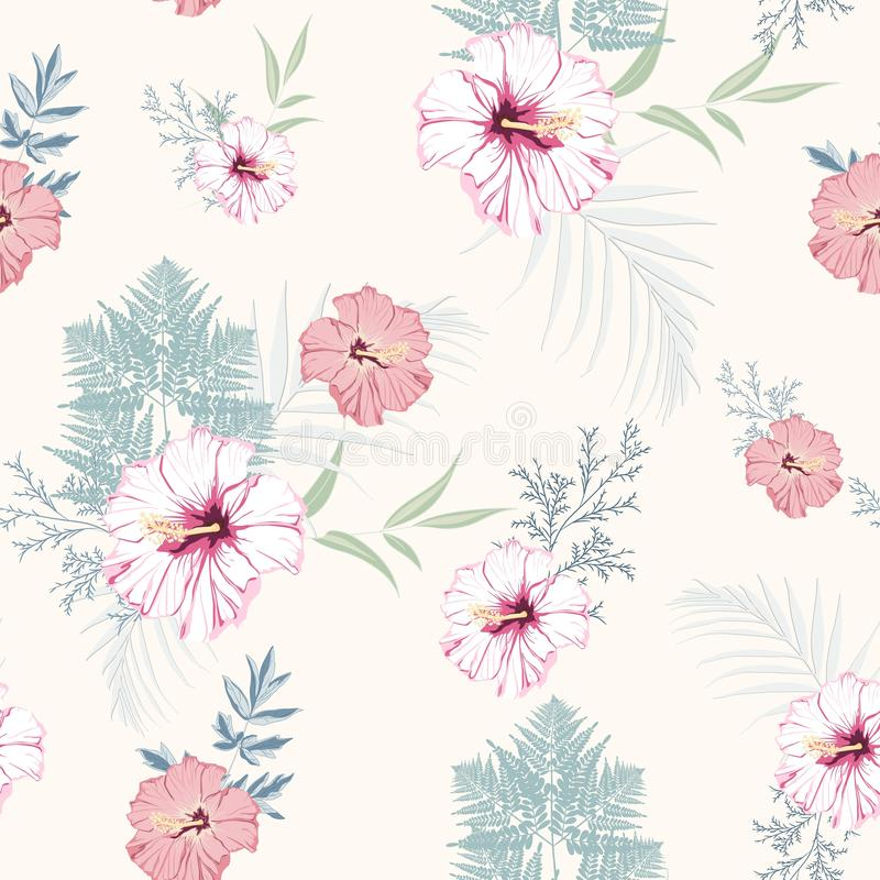 Tropical pink hibiscus flowers with blue herbs seamless pattern. Watercolor style floral background stock illustration