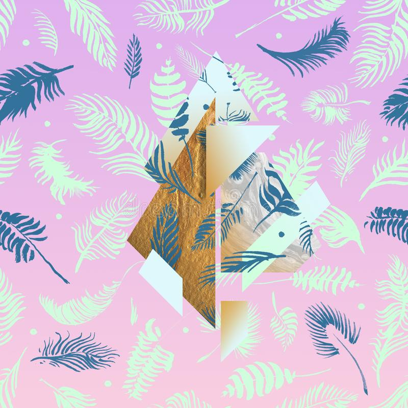 Tropical pink illustrations with geometric gold elements, watercolor palms, grey marble texture and collage effects for music cove. R, glamour banner, print royalty free illustration