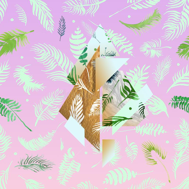 Tropical pink illustrations with geometric gold elements, watercolor palms, grey marble texture and collage effects for music cove. R, glamour banner, print stock illustration