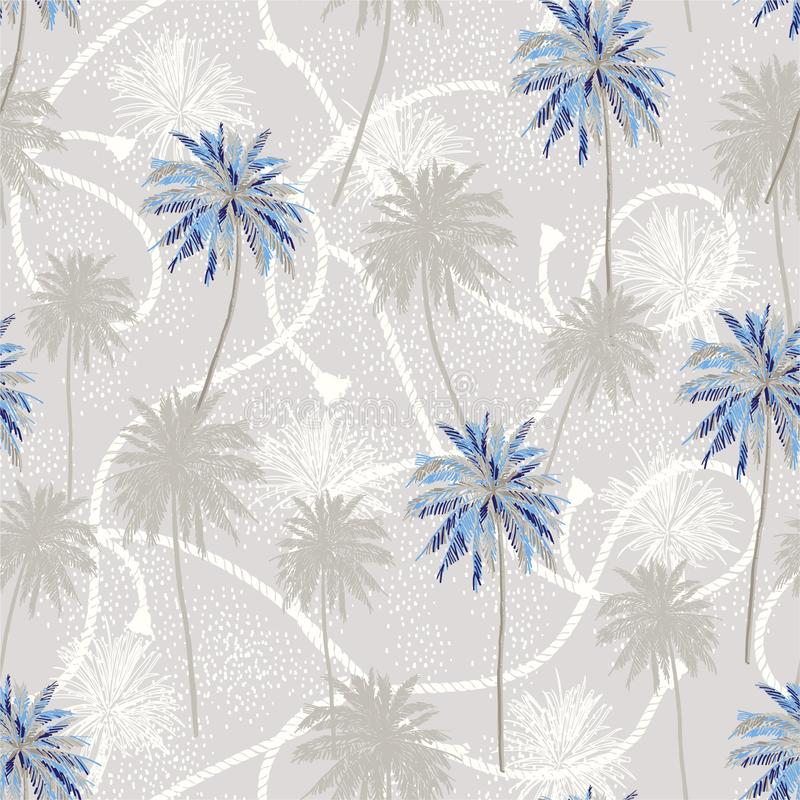 Tropical plam trees layer on sailor rope texture summer mood seamless pattern in vector design for fashion,fabric,web,wallpaper. And all prints on light grey royalty free illustration