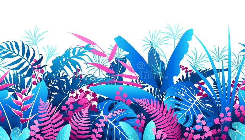 Tropical Plants  Colorful  Seamless Pattern vector illustration