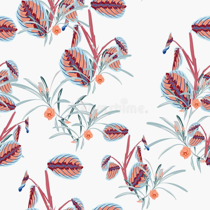 Tropical plants and flower seamless pattern . Bush plant leaves decoration on white background. Colorful exotic forest wallpaper royalty free illustration