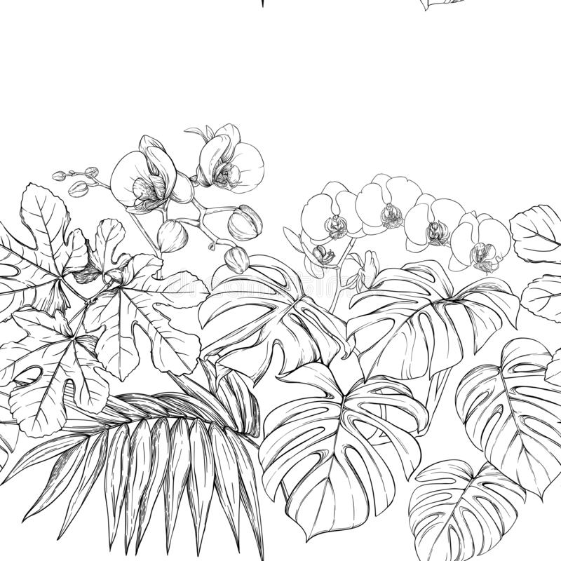 Tropical plants and flowers. Seamless pattern, background. Vector illustration. stock illustration
