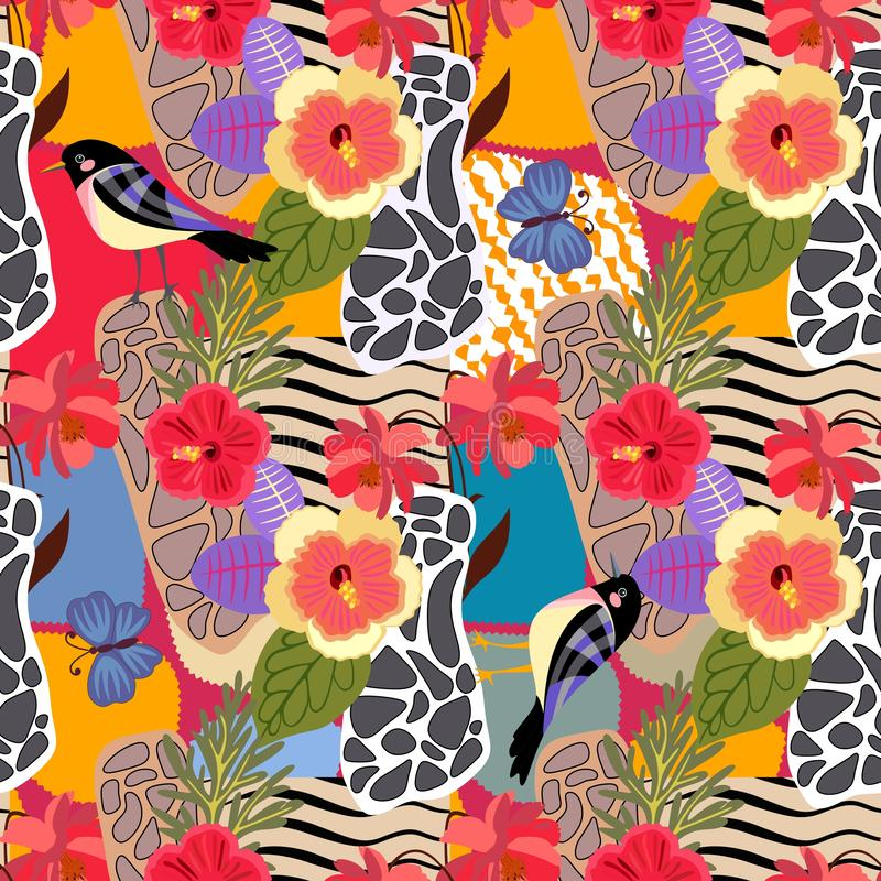 Tropical plants and flowers seamless pattern. Cute birds and big blue butterflies on patchwotk background with abstract print royalty free illustration