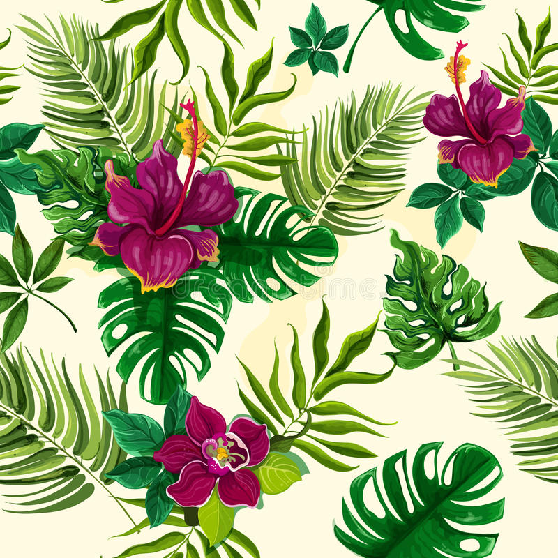 Tropical plants flowers seamless pattern stock illustration