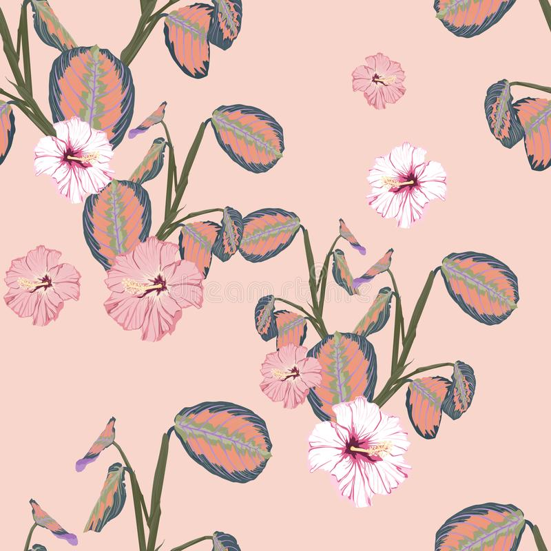 Tropical plants and hibiscus flower seamless pattern . Bush plant leaves decoration on pink background. Colorful exotic forest wallpaper vector illustration