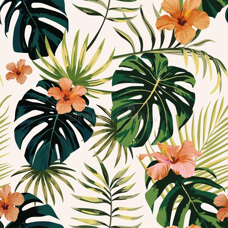 Tropical plants leaves flowers hibiscus seamless white backgroun royalty free illustration