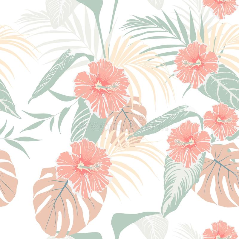 Tropical plants and pastel hibiscus flowers. Seamless tropical pattern, background. On soft colors background stock illustration
