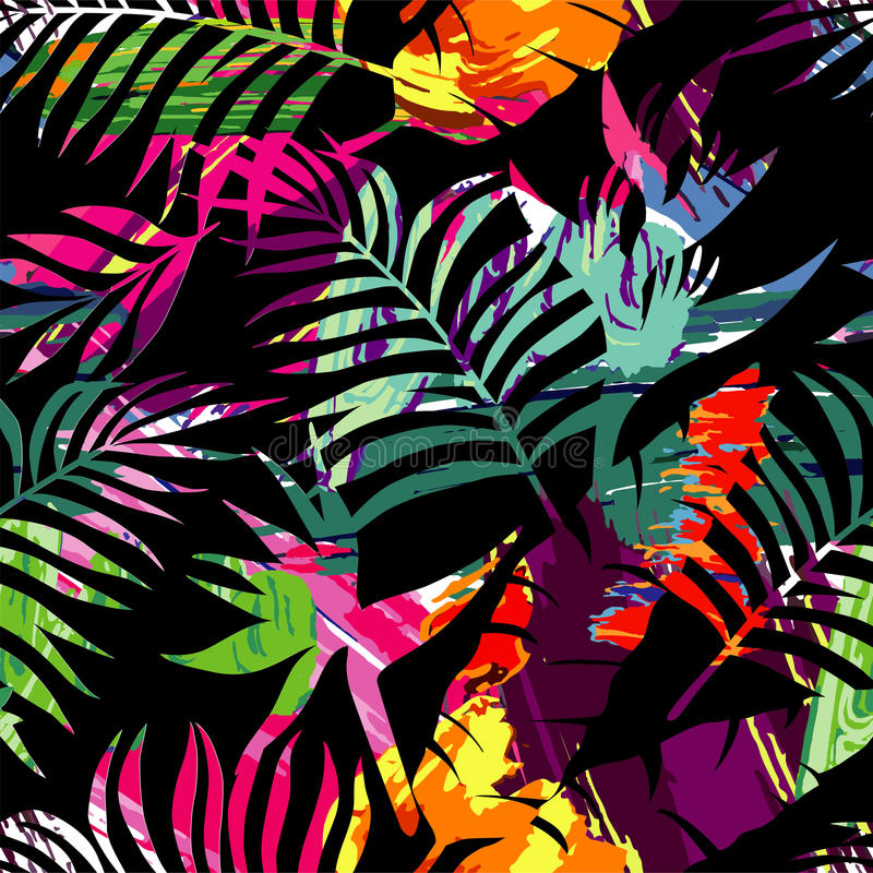 Tropical plants silhouette painting brash seamless background vector illustration