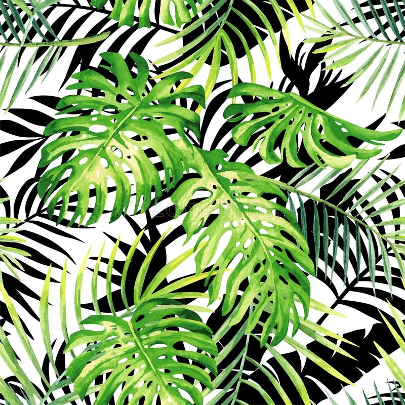tropical plants watercolor pattern, black and white leaves silhouette background stock illustration