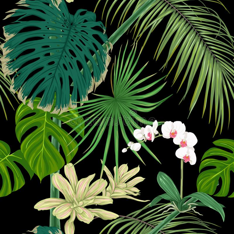 Tropical plants and flowers. Seamless pattern, background. Vector illustration. Isolated on black background. stock illustration